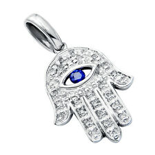14K WHITE GOLD PAVE SAPPHIRE DIAMOND HAMSA HAND GOD EVIL EYE PENDANT NECKLACE