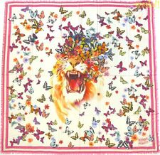 """ALEXANDER MCQUEEN pink BUTTERFLY ROAR chiffon 54""""-square scarf NEW Authent $530"""