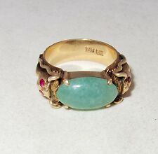 Vintage Chinese 14K Gold DRAGON Ring with Green JADEITE Jade  (15.7g, size 10.5)