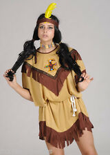 NATIVE INDIAN WOMAN WILD WEST FANCY DRESS POCAHONTAS COSTUME L- XXXL