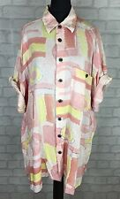 WOMENS VINTAGE RETRO 90'S BRIGHT PATTERN OVERSIZED BLOUSE SHIRT FESTIVAL UK XL
