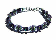 "Spiky Iridescent Purple & Green 7"""" Fun to be Me"" Bracelet Slave Violet Jewelry"