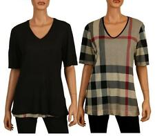 NEW BURBERRY BLACK CLASSIC CHECK REVERSIBLE SOFT MODAL V NECK SHIRT TUNIC TOP M