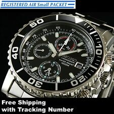 SEIKO SNA225 SNA225P Chronograph Stainless Steel Black 100m Men's Watch Japan