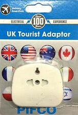 UK Tourist Travel EU US to 3 Pin charger power plug holiday adaptor 110/230v AC