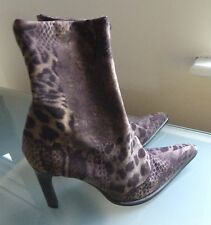 Moda in Pelle Ladies Boots Size 6 39 Animal Print Sexy High Heel Smart Ankle