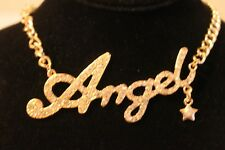 """Gold Tone 18"""" Chain w/ 4"""" word Angel in between. necklace"""