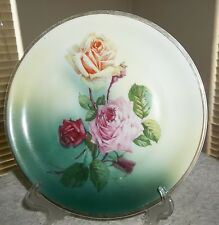 ANTIQUE C.T. ALTWASSER GERMANY GORGEOUS RED,PINK,YELLOW ROSES PLATE GOLD TRIM