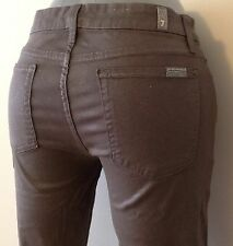 7 For All Mankind Stretch Shiny Grey Silver Skinny Jeans Size 24 Second Skin