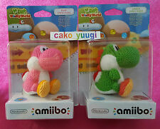 LOT AMIIBO YOSHI LAINE YARN WOOLLY WORLD GREEN + PINK  NINTENDO