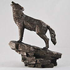 Bronze Wolf Statue Howling Ornament Sculpture Woods Mystical Wildlife NEW 07118