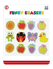 Childrens 12 x Funky Rubbers Erasers Party Bag fillers Birthday Gift Stationery