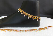 Indian BellyDance Jewelry Anklet Bracelet Set Gold Plated wedding Cz Chain Payal