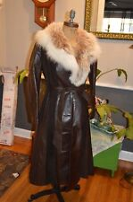vintage brown leather and lynx spotted white fox fur collar long coat