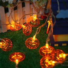 10 LED Orange Jack Lantern Pumpkin Battery Powered String Fairy Lights Halloween