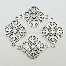 12932 50PCS Alloy Antique Silver Tone Flower Connector Charms Jewelry Making