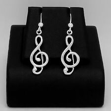 925 Sterling Silver Clef Note Earrings Music Drop/Dangle Hook Hallmark Unbra New