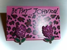 NWT BETSEY JOHNSON *BOHEMIAN BETSEY* PINK CRYSTAL TULIP STUD EARRINGS