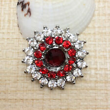 NEW Rhinestone Red Bloom Charm Chunk Snap Button fit for Noosa Bracelet BUB32