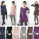 Fashion Women Korean Style Solid Plain Soft Long Sleeve Mini Base Dress Skirt