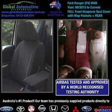 Ford Ranger PX MkII Front and Rear Neoprene Car Seat Covers XL XLS XLT WILDTRAK