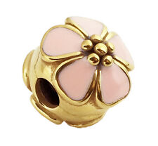 Pandora Cherry Blossom Pink Enamel Clip Charm 24K Gold Plated 791041EN40 Genuine