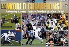 BRONCOS BEAT PANTHERS, WIN SUPER BOWL 50 COMMEMORATIVE POSTER