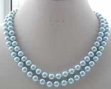 Beautiful! 2Row 8mm Light Blue South Sea Shell Pearl Round Necklace 18-19'' H-15