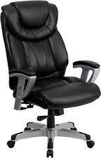 HERCULES Series 400 lb. Capacity Big & Tall Black Leather Office Chair with Arms