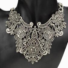 Retro Mujer Collar Gargantilla Cadena Colgante Babero Flor Choker Necklace