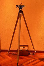 *Nivel Óptico Antiguo OPTIC SURVEYING LEVEL +tripod+wood box+tools THEODOLITE *