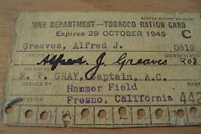 1945 WWII 'TOBACCO RATION CARD'~War Department/HAMMER FIELD Fresno CA~