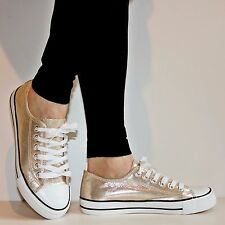 NEW Ladies Girls Flat Plimsolls Canvas Sneakers Lace Up Trainers Shoes Size-FM28
