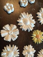 15 Plaster Mixed Media Embellishments, Plaster Flowers, 3D Floral  Powertex