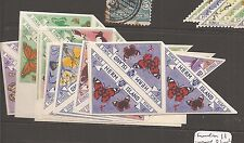 Herm Island Butterfly Triangle Stamps 11 imperforate blocks of 3 MNH (10cdw)