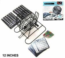 PROFESSIONAL LARGE BINGO GAME SET 12 in cage markers balls cards  ball holder