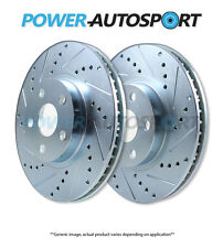 (FRONT) POWER PERFORMANCE DRILLED SLOTTED PLATED BRAKE DISC ROTORS P53038