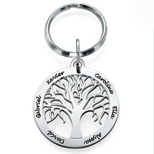 Family Tree Keychain in Sterling Silver - Personalized (USA Seller)