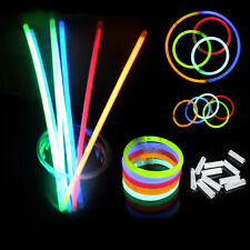 "100 Pcs 8"" Glow Sticks Bracelets Necklaces Neon Mix Colors Party Christmas Favor"