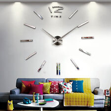 Large 3D Vinyl Adhesive Wall Clock Sticker Vintage Home Room Decor Wall Clock