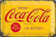 A4 Retro Tin Metal Embossed Sign COCA-COLA LOGO 20x30cm Licensed Yellow/Red Coke