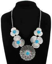 Necklace Large Silver Tone Turquoise Blue Flower Filigree Statement