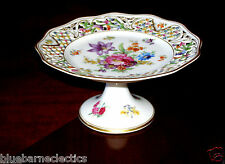 Schumann Bavaria Dresden Flowers Pierced/Reticulated Pedestal Plate Compote