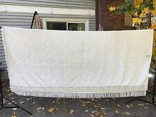 """Vintage White POPCORN fringed BEDSPREAD 90"""" x 106"""" Full Double CUTTER FABRIC"""