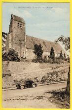 cpsm GROSROUVRE (Yvelines) L' ÉGLISE St MARTIN Automobile Voiture 4 CV Renault