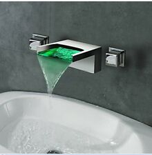 NEW LED Color Changing Wall Mounted Waterfall Bathroom Basin Faucet Dual Handles