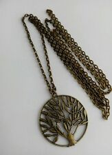 "A Large round tree of life Bronze Tone Charm, Long ( 30"" ) Chain Necklace"