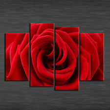 Home Decor Wall art,picture HD printed on canvas,(Unframed)beautiful Red Rose 4p