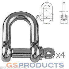 4 x 10mm Stainless Steel A4-AISI 316 D Shackles Dee FREE P+P