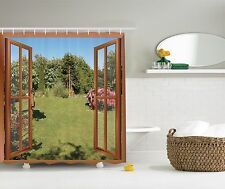 Japanese Garden with Hydrangeas Flowers Shower Curtain Extra Long 84 Inch